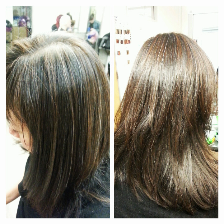 using Aveda Color. Thermal styling using round brushes, hair dryer ...